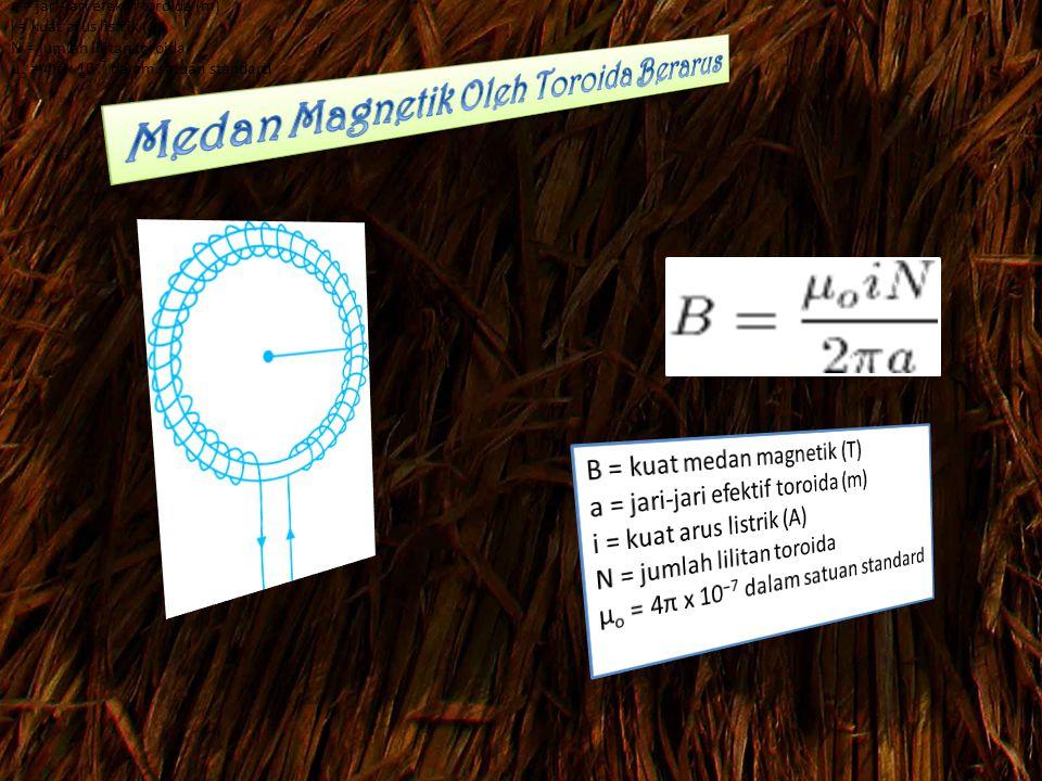 B = kuat medan magnetik (T) a = jari-jari efektif toroida (m) i = kuat arus listrik (A) N = jumlah lilitan toroida μ o = 4π x 10 −7 dalam satuan standard