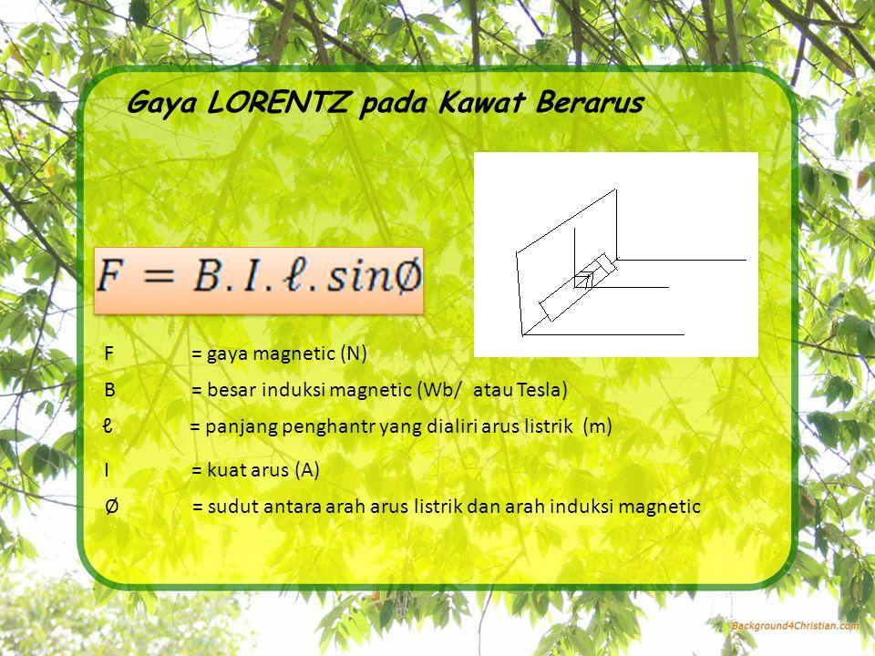 Gaya LORENTZ pada Kawat Berarus F= gaya magnetic (N) B= besar induksi magnetic (Wb/ atau Tesla) ℓ= panjang penghantr yang dialiri arus listrik (m) I= kuat arus (A) Ø= sudut antara arah arus listrik dan arah induksi magnetic