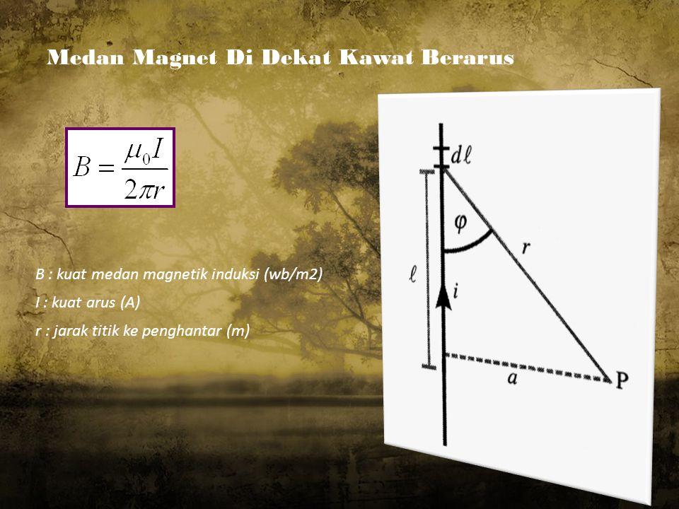 Medan Magnet Di Dekat Kawat Berarus.. B : kuat medan magnetik induksi (wb/m2) I : kuat arus (A) r : jarak titik ke penghantar (m)