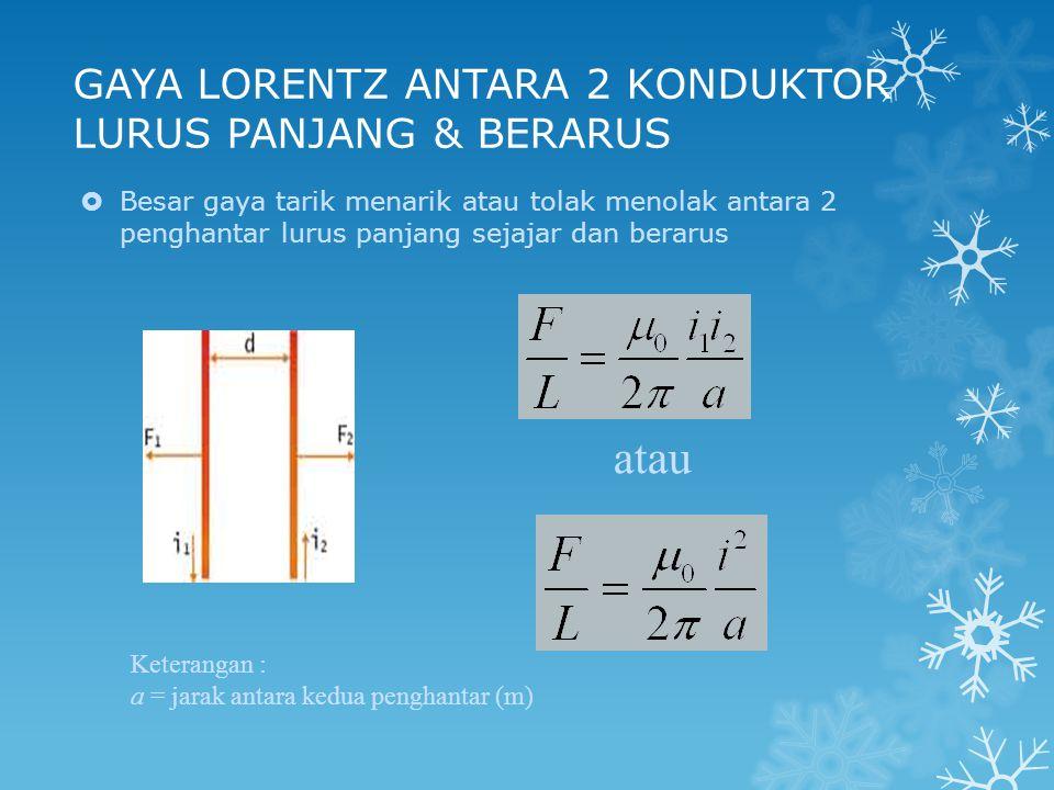 GAYA LORENTZ ANTARA 2 KONDUKTOR LURUS PANJANG & BERARUS atau Keterangan : a = jarak antara kedua penghantar (m)  Besar gaya tarik menarik atau tolak menolak antara 2 penghantar lurus panjang sejajar dan berarus