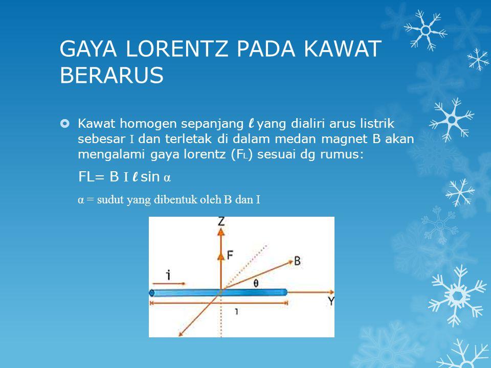 GAYA LORENTZ PADA KAWAT BERARUS  Kawat homogen sepanjang l yang dialiri arus listrik sebesar I dan terletak di dalam medan magnet B akan mengalami gaya lorentz (F L ) sesuai dg rumus: FL= B I l sin α α = sudut yang dibentuk oleh B dan I