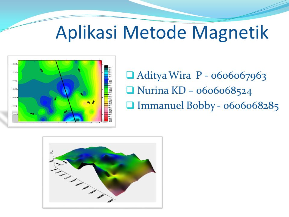 Aplikasi Metode Magnetik  Aditya Wira P - 0606067963  Nurina KD – 0606068524  Immanuel Bobby - 0606068285