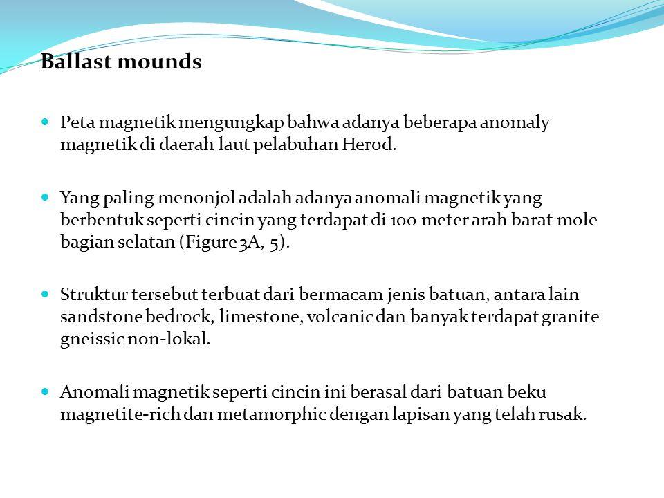 Ballast mounds Peta magnetik mengungkap bahwa adanya beberapa anomaly magnetik di daerah laut pelabuhan Herod. Yang paling menonjol adalah adanya anom
