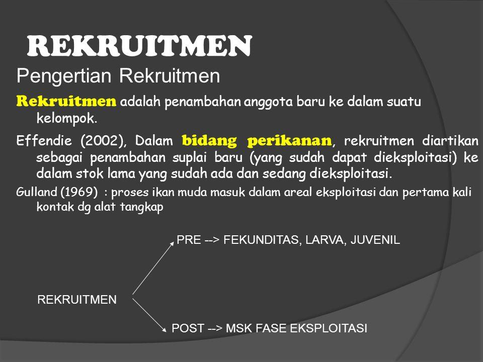 REKRUITMEN Pengertian Rekruitmen Rekruitmen adalah penambahan anggota baru ke dalam suatu kelompok. Effendie (2002), Dalam bidang perikanan, rekruitme