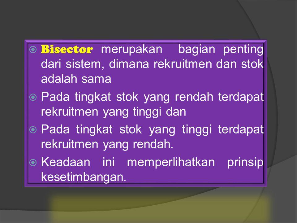  Bisector merupakan bagian penting dari sistem, dimana rekruitmen dan stok adalah sama  Pada tingkat stok yang rendah terdapat rekruitmen yang tinggi dan  Pada tingkat stok yang tinggi terdapat rekruitmen yang rendah.