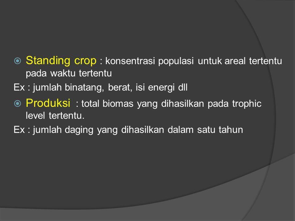  Standing crop : konsentrasi populasi untuk areal tertentu pada waktu tertentu Ex : jumlah binatang, berat, isi energi dll  Produksi : total biomas yang dihasilkan pada trophic level tertentu.