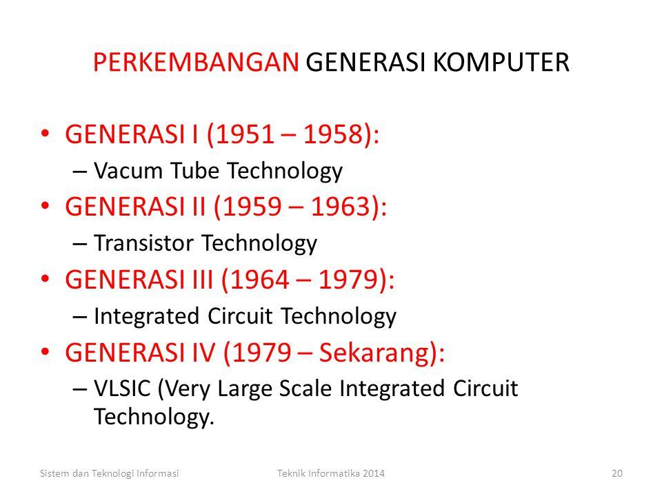 Contoh koding EBCDIC dan ASCII Sistem dan Teknologi InformasiTeknik Informatika 201419 KARAKTEREBCDIC BINNER ASCII BINNER A1100 00011010 0001 B1100 00