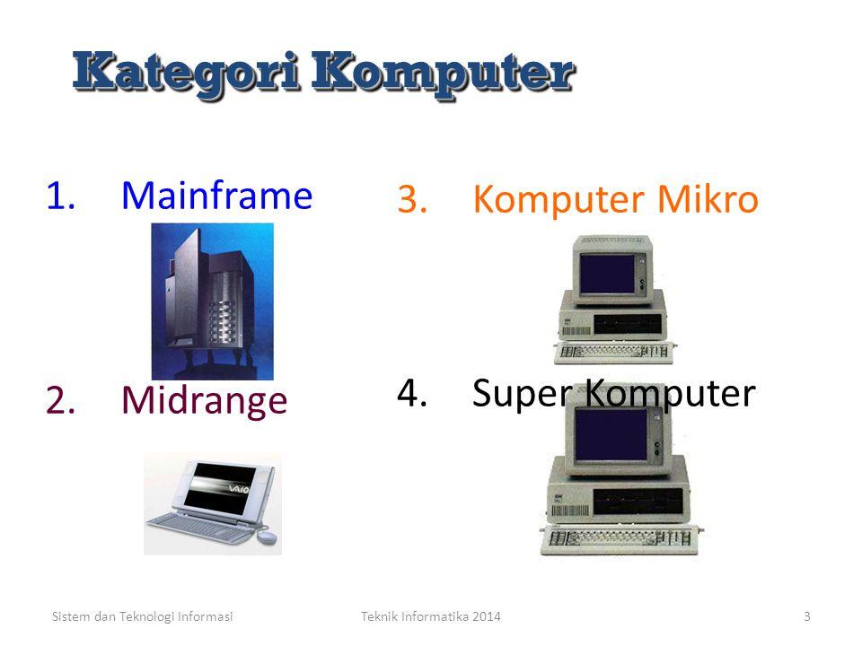 Sistem dan Teknologi InformasiTeknik Informatika 20143 2.Midrange Kategori Komputer Kategori Komputer 1.Mainframe 3.Komputer Mikro 4.Super Komputer
