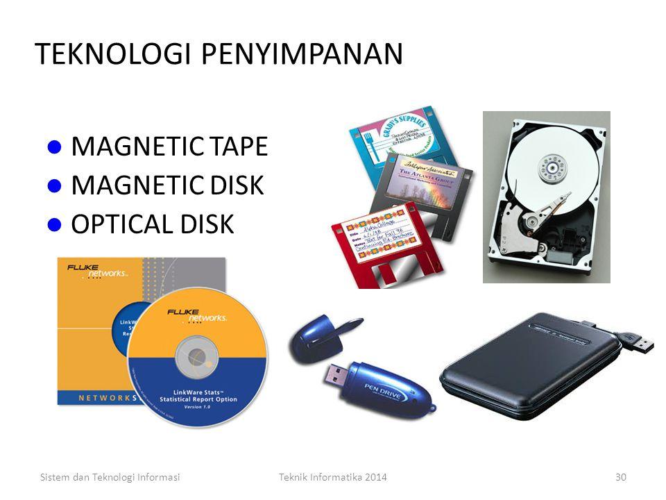 Sistem dan Teknologi InformasiTeknik Informatika 201429 TEKNOLOGI OUTPUT (3) VIDIO DISPLAY TERMINAL Hasil pemrosesan komputer dapat dilihat di layar m