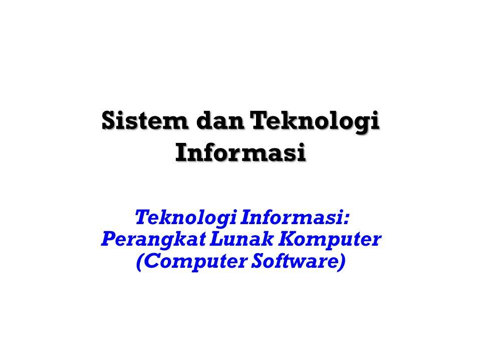 Sistem dan Teknologi InformasiTeknik Informatika 201430 TEKNOLOGI PENYIMPANAN MAGNETIC TAPE MAGNETIC DISK OPTICAL DISK