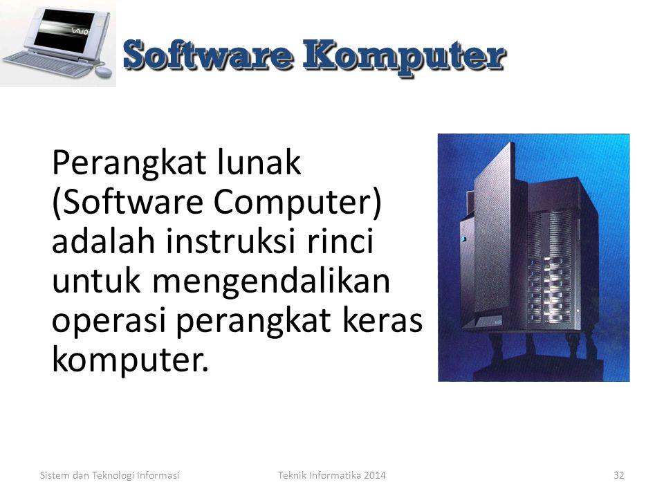 Sistem dan Teknologi Informasi Teknologi Informasi: Perangkat Lunak Komputer (Computer Software)