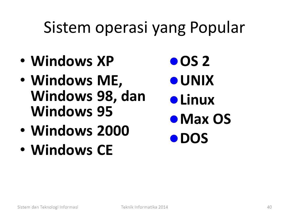 Fungsi Sistem operasi Alokasi dan Penugasan Sumber Daya Sistem Penjadwalan Pemantauan Sistem dan Teknologi InformasiTeknik Informatika 201439