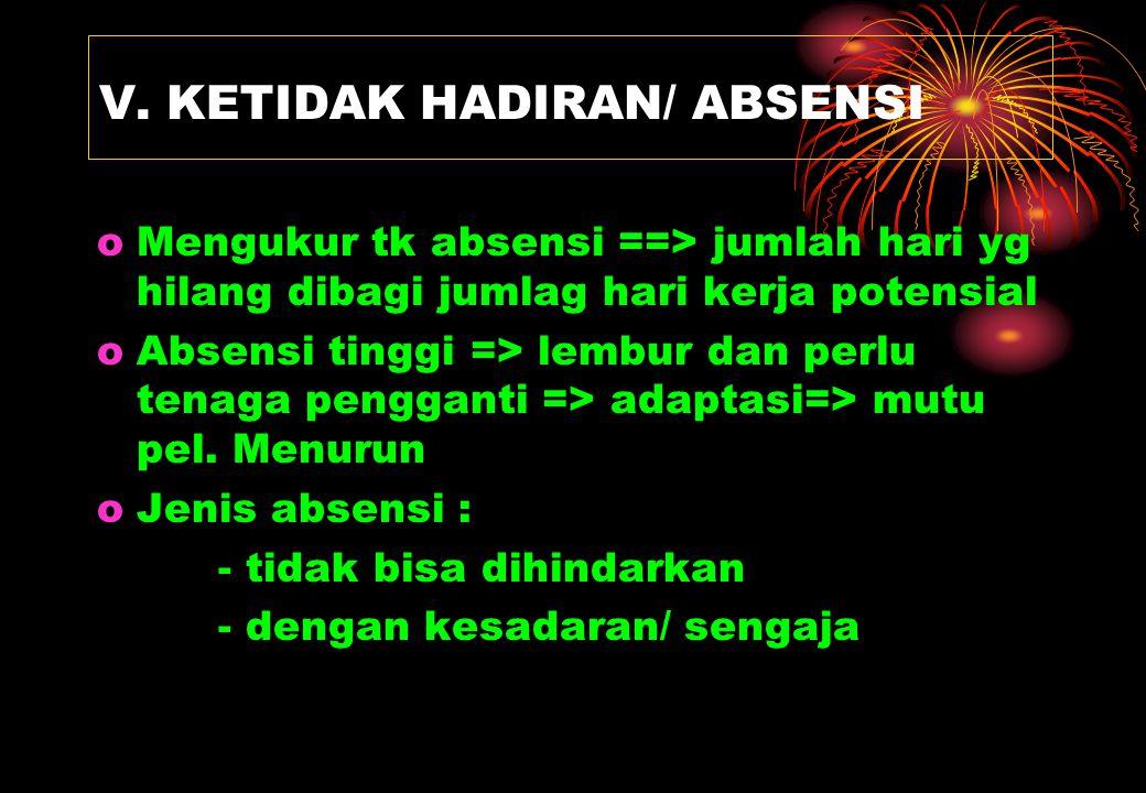 V. KETIDAK HADIRAN/ ABSENSI oMengukur tk absensi ==> jumlah hari yg hilang dibagi jumlag hari kerja potensial oAbsensi tinggi => lembur dan perlu tena