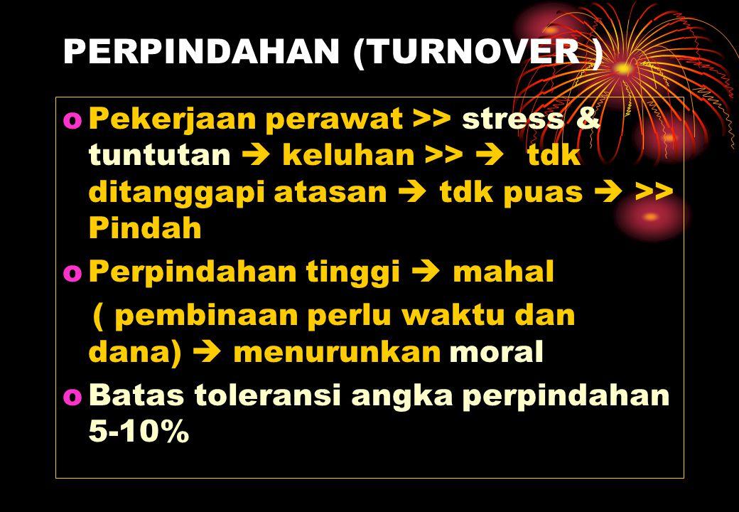 PERPINDAHAN (TURNOVER ) oPekerjaan perawat >> stress & tuntutan  keluhan >>  tdk ditanggapi atasan  tdk puas  >> Pindah oPerpindahan tinggi  maha