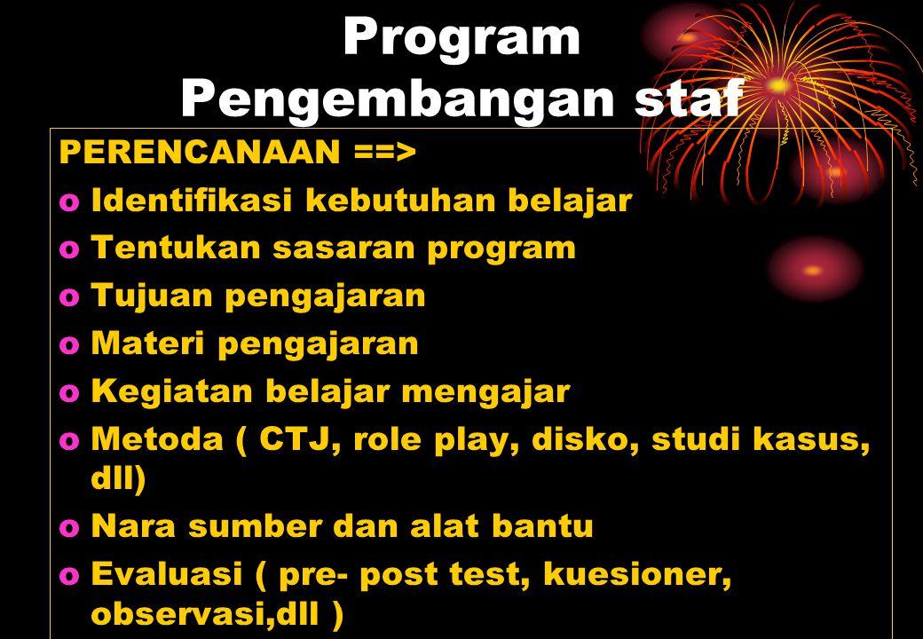 Program Pengembangan staf PERENCANAAN ==> oIdentifikasi kebutuhan belajar oTentukan sasaran program oTujuan pengajaran oMateri pengajaran oKegiatan be