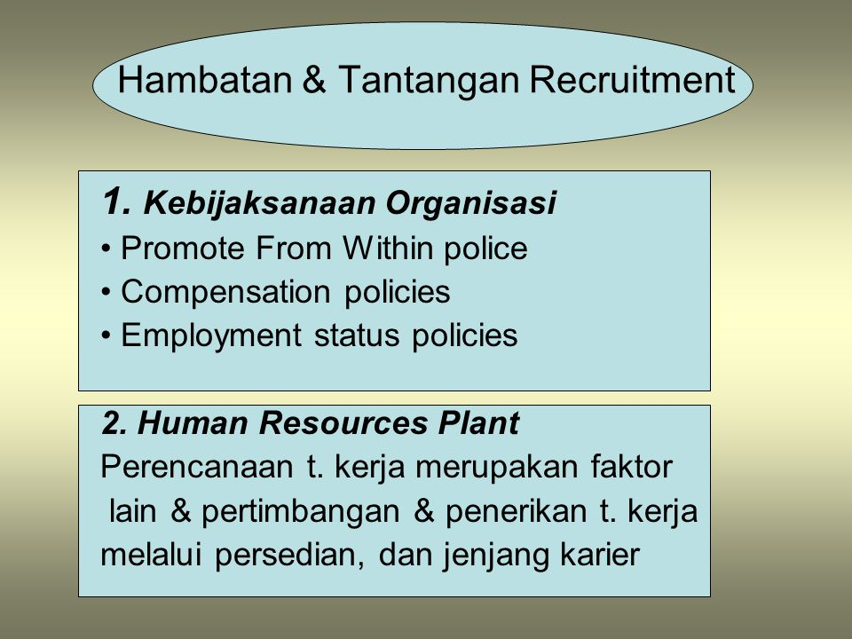 1. Kebijaksanaan Organisasi Promote From Within police Compensation policies Employment status policies 2. Human Resources Plant Perencanaan t. kerja
