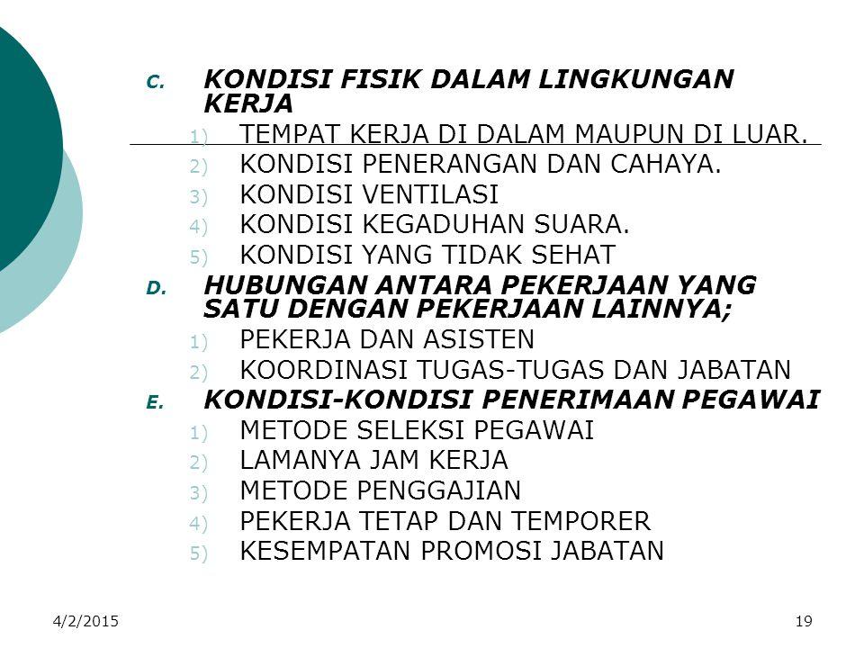 4/2/201519 C. KONDISI FISIK DALAM LINGKUNGAN KERJA 1) TEMPAT KERJA DI DALAM MAUPUN DI LUAR. 2) KONDISI PENERANGAN DAN CAHAYA. 3) KONDISI VENTILASI 4)