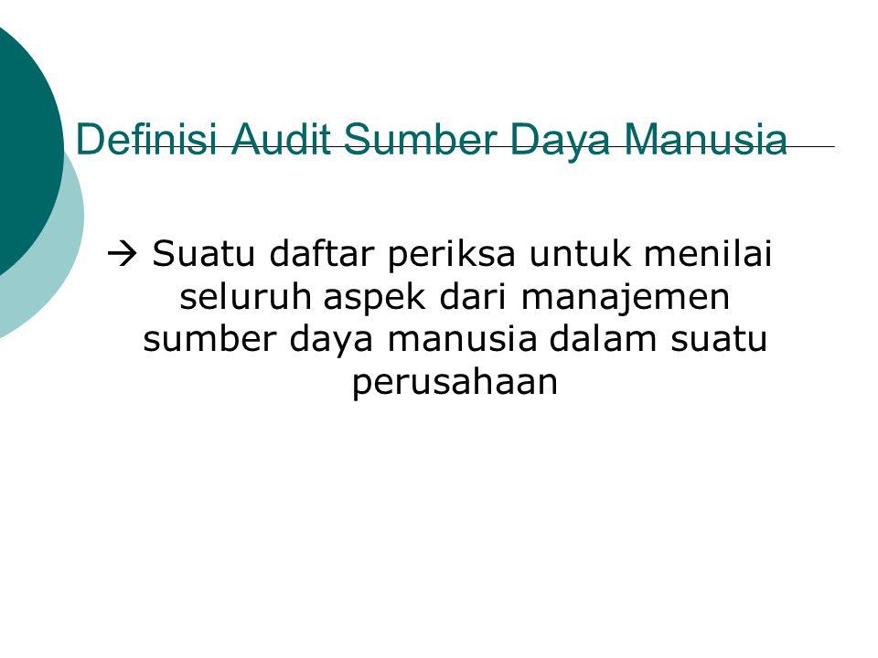 Definisi Audit Sumber Daya Manusia  Suatu daftar periksa untuk menilai seluruh aspek dari manajemen sumber daya manusia dalam suatu perusahaan