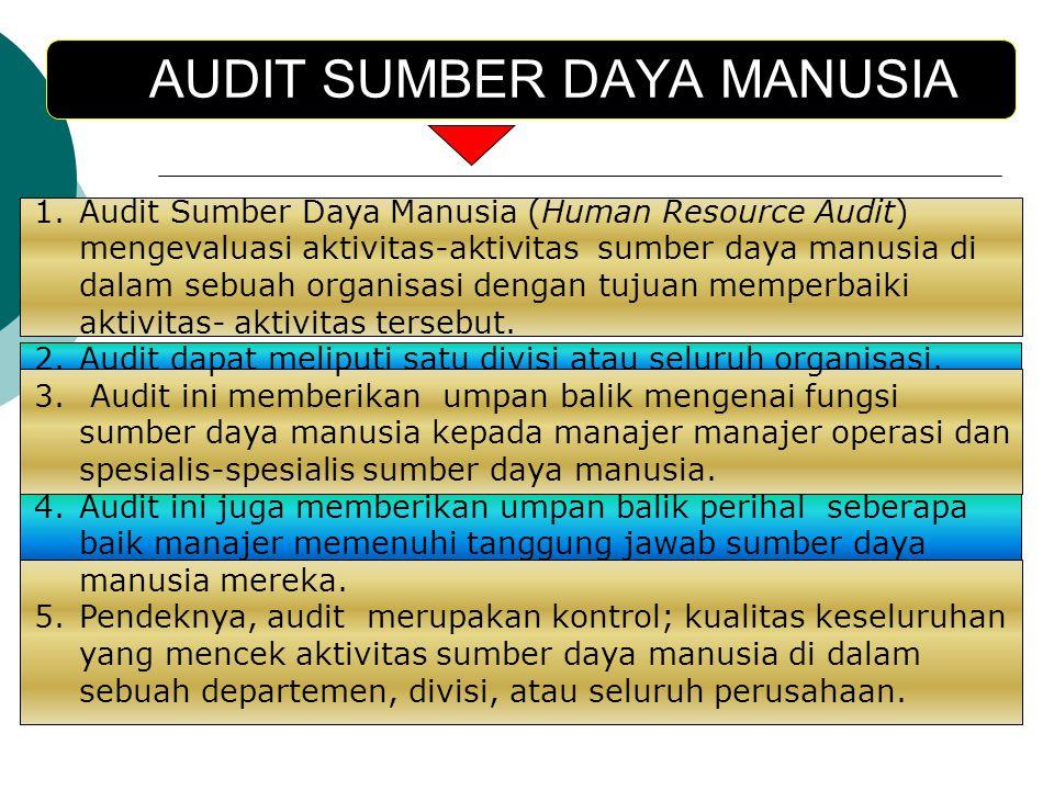 AUDIT SUMBER DAYA MANUSIA 1.Audit Sumber Daya Manusia (Human Resource Audit) mengevaluasi aktivitas-aktivitas sumber daya manusia di dalam sebuah orga