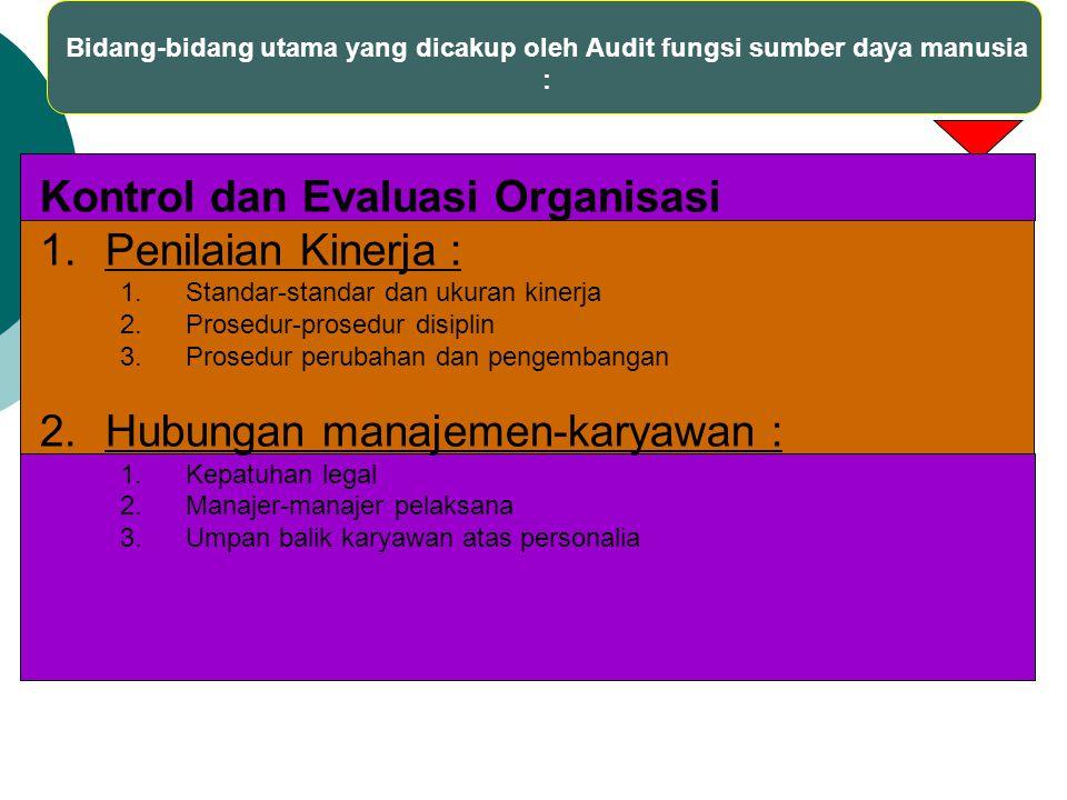 Bidang-bidang utama yang dicakup oleh Audit fungsi sumber daya manusia : Kontrol dan Evaluasi Organisasi 1.Penilaian Kinerja : 1.Standar-standar dan u