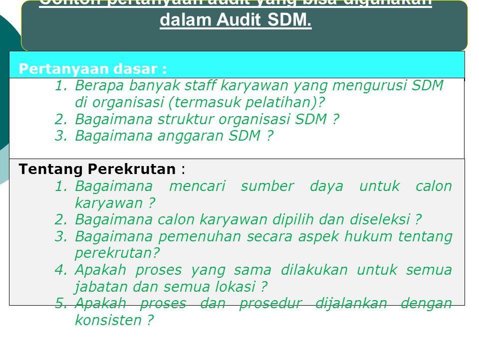 Contoh pertanyaan audit yang bisa digunakan dalam Audit SDM. Pertanyaan dasar : 1.Berapa banyak staff karyawan yang mengurusi SDM di organisasi (terma