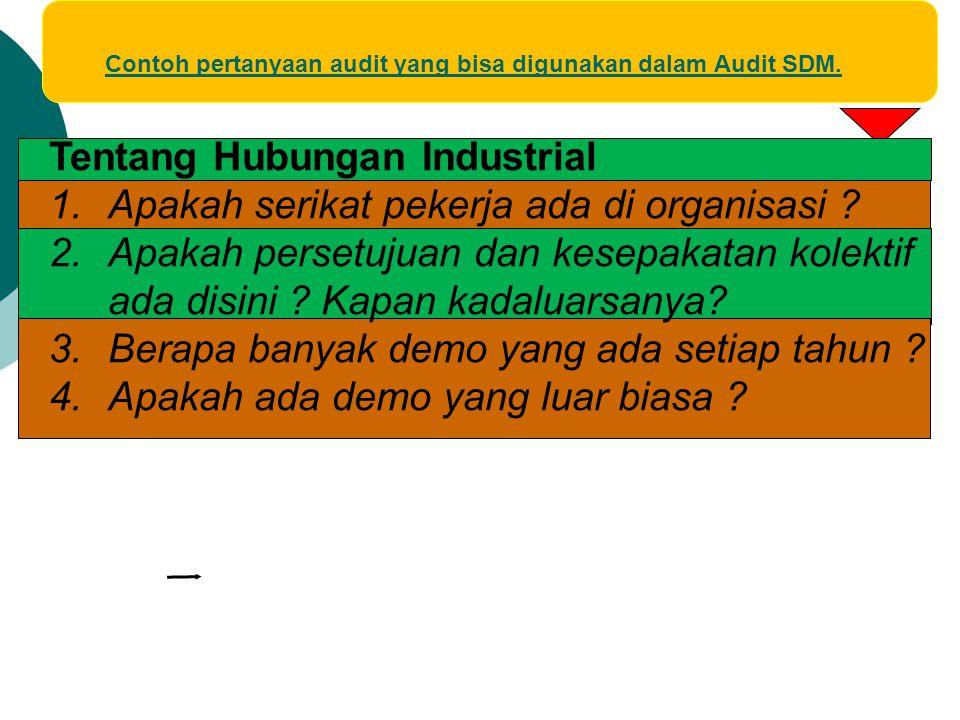 Contoh pertanyaan audit yang bisa digunakan dalam Audit SDM. Tentang Hubungan Industrial 1.Apakah serikat pekerja ada di organisasi ? 2.Apakah persetu