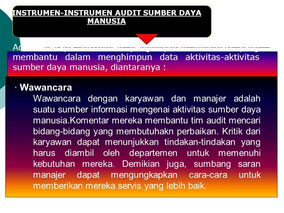 INSTRUMEN-INSTRUMEN AUDIT SUMBER DAYA MANUSIA Ada beberapa instrumen pengumpulan informasi yang membantu dalam menghimpun data aktivitas-aktivitas sum