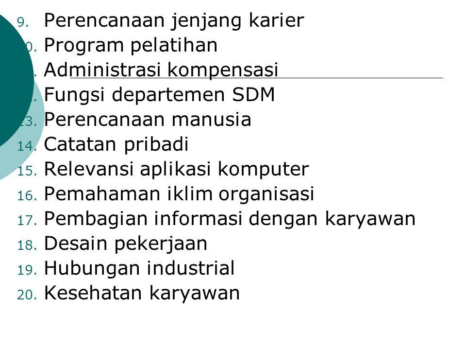 9. Perencanaan jenjang karier 10. Program pelatihan 11. Administrasi kompensasi 12. Fungsi departemen SDM 13. Perencanaan manusia 14. Catatan pribadi