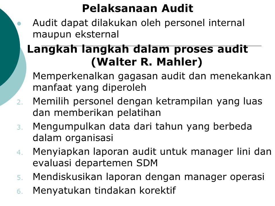 Pelaksanaan Audit Audit dapat dilakukan oleh personel internal maupun eksternal Langkah langkah dalam proses audit (Walter R. Mahler) 1. Memperkenalka