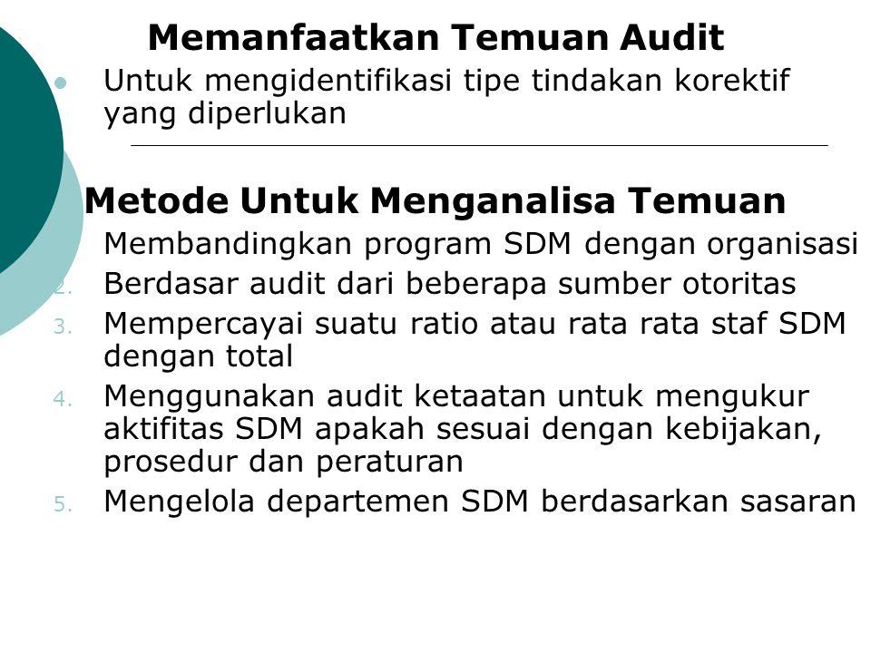 Memanfaatkan Temuan Audit Untuk mengidentifikasi tipe tindakan korektif yang diperlukan Metode Untuk Menganalisa Temuan 1. Membandingkan program SDM d