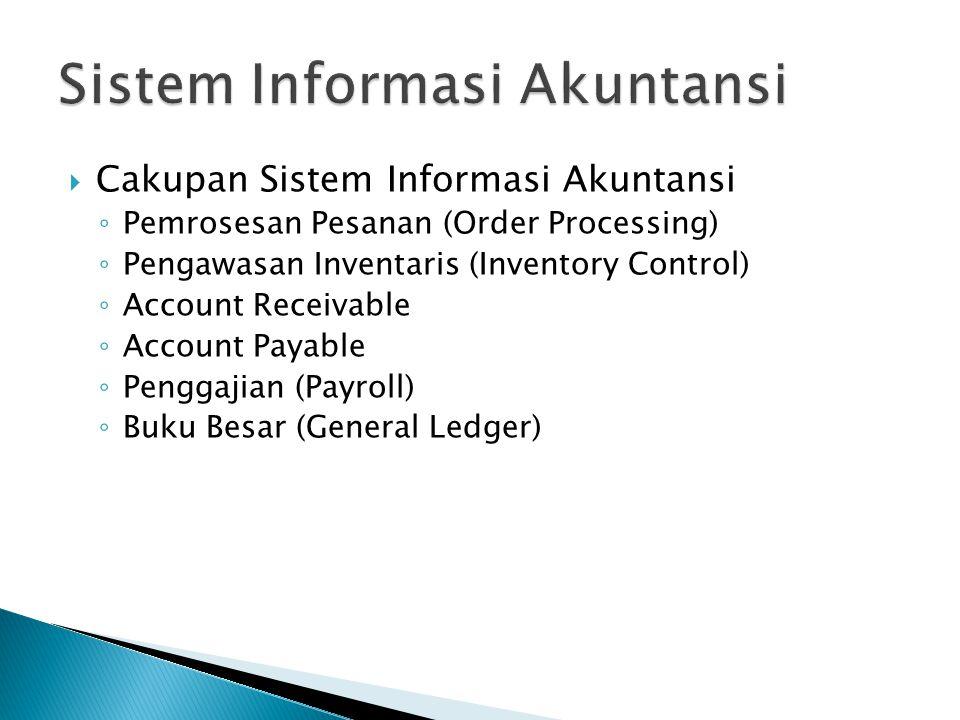  Cakupan Sistem Informasi Akuntansi ◦ Pemrosesan Pesanan (Order Processing) ◦ Pengawasan Inventaris (Inventory Control) ◦ Account Receivable ◦ Account Payable ◦ Penggajian (Payroll) ◦ Buku Besar (General Ledger)
