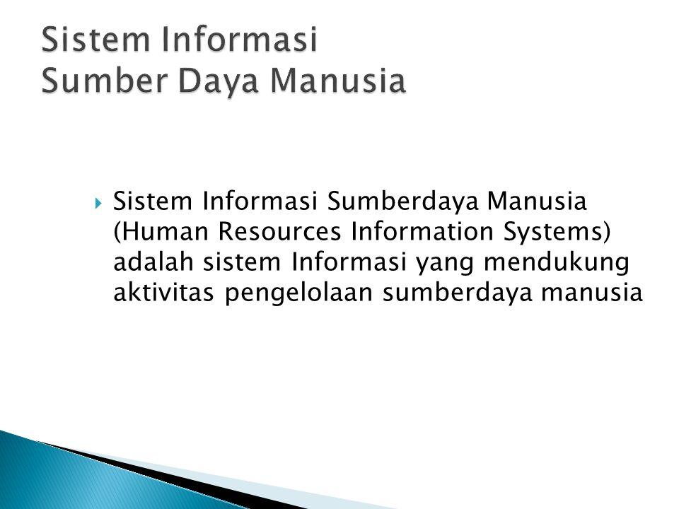  Sistem Informasi Sumberdaya Manusia (Human Resources Information Systems) adalah sistem Informasi yang mendukung aktivitas pengelolaan sumberdaya manusia