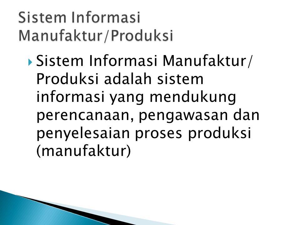  Sistem Informasi Manufaktur/ Produksi adalah sistem informasi yang mendukung perencanaan, pengawasan dan penyelesaian proses produksi (manufaktur)