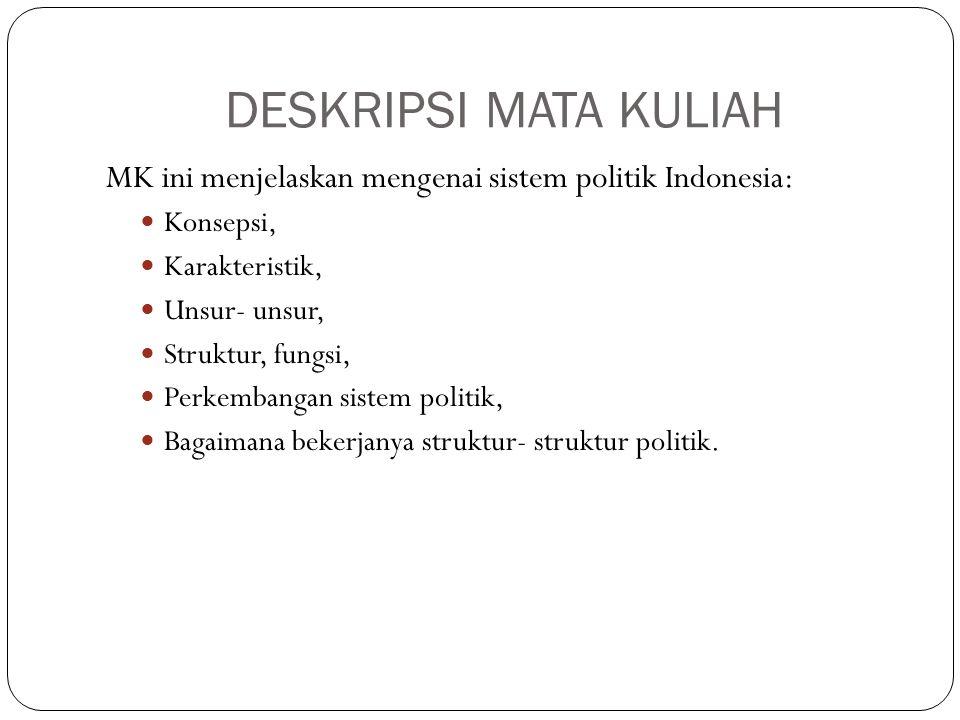 DESKRIPSI MATA KULIAH MK ini menjelaskan mengenai sistem politik Indonesia: Konsepsi, Karakteristik, Unsur- unsur, Struktur, fungsi, Perkembangan sistem politik, Bagaimana bekerjanya struktur- struktur politik.