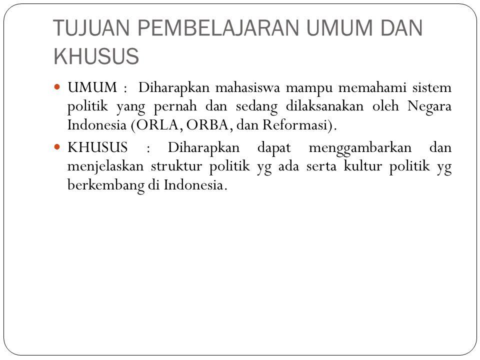 TUJUAN PEMBELAJARAN UMUM DAN KHUSUS UMUM : Diharapkan mahasiswa mampu memahami sistem politik yang pernah dan sedang dilaksanakan oleh Negara Indonesia (ORLA, ORBA, dan Reformasi).