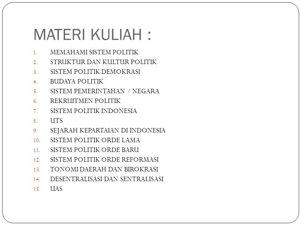 MATERI KULIAH : 1. MEMAHAMI SISTEM POLITIK 2. STRUKTUR DAN KULTUR POLITIK 3. SISTEM POLITIK DEMOKRASI 4. BUDAYA POLITIK 5. SISTEM PEMERINTAHAN / NEGAR