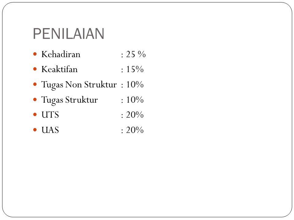 PENILAIAN Kehadiran : 25 % Keaktifan: 15% Tugas Non Struktur : 10% Tugas Struktur: 10% UTS: 20% UAS: 20%