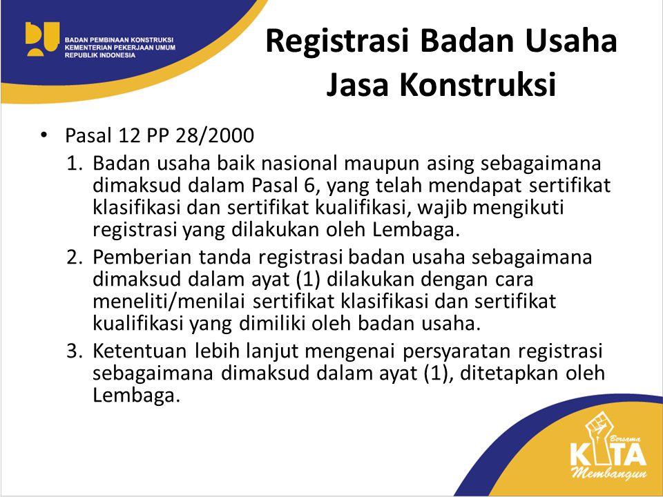 Registrasi Badan Usaha Jasa Konstruksi Pasal 12 PP 28/2000 1.Badan usaha baik nasional maupun asing sebagaimana dimaksud dalam Pasal 6, yang telah men