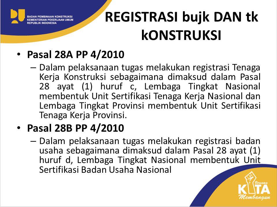 REGISTRASI bujk DAN tk kONSTRUKSI Pasal 28A PP 4/2010 – Dalam pelaksanaan tugas melakukan registrasi Tenaga Kerja Konstruksi sebagaimana dimaksud dala