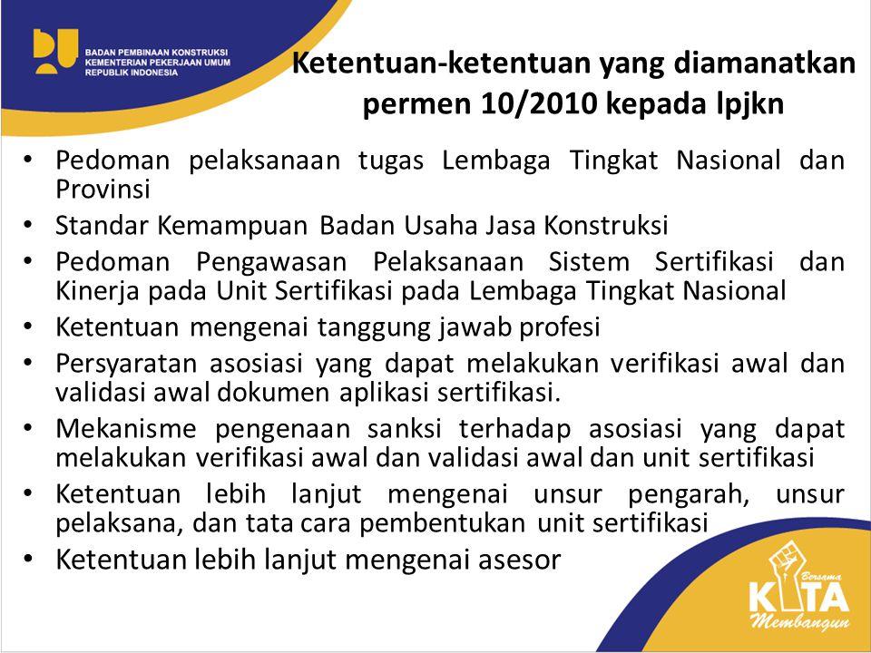 Ketentuan-ketentuan yang diamanatkan permen 10/2010 kepada lpjkn Pedoman pelaksanaan tugas Lembaga Tingkat Nasional dan Provinsi Standar Kemampuan Bad