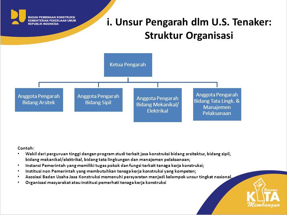 i. Unsur Pengarah dlm U.S. Tenaker: Struktur Organisasi Ketua Pengarah Anggota Pengarah Bidang Arsitek Anggota Pengarah Bidang Sipil Anggota Pengarah