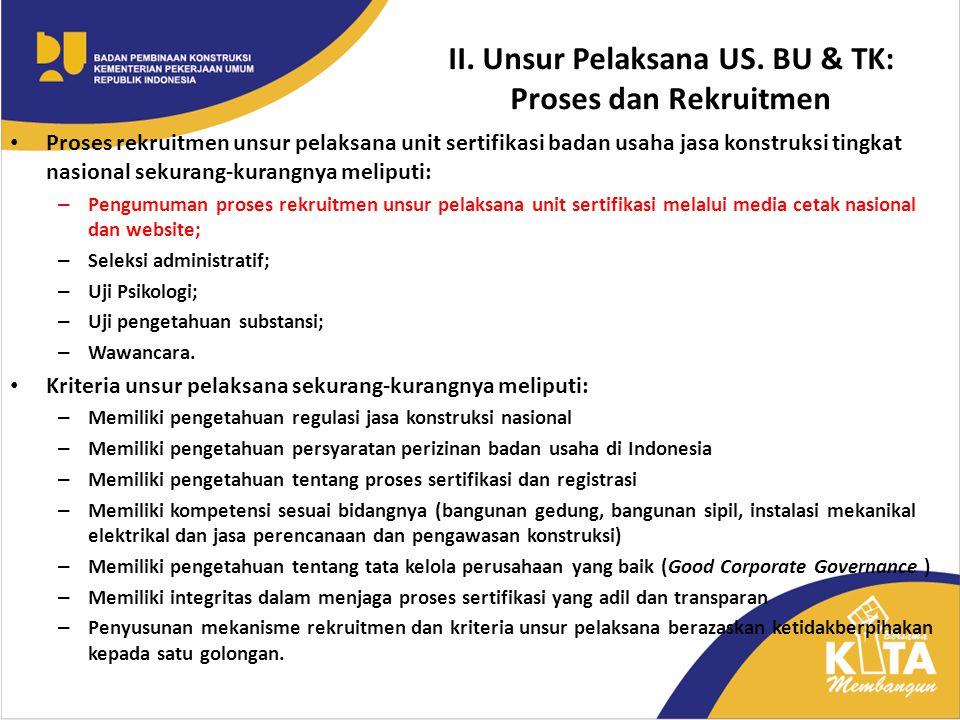 II. Unsur Pelaksana US. BU & TK: Proses dan Rekruitmen Proses rekruitmen unsur pelaksana unit sertifikasi badan usaha jasa konstruksi tingkat nasional