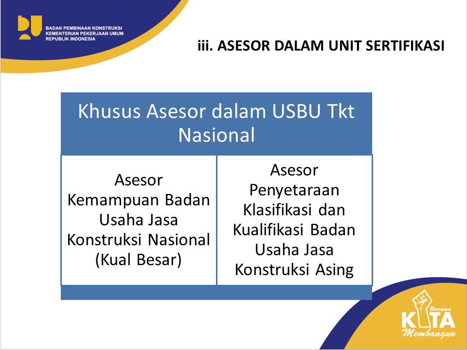 iii. ASESOR DALAM UNIT SERTIFIKASI Khusus Asesor dalam USBU Tkt Nasional Asesor Kemampuan Badan Usaha Jasa Konstruksi Nasional (Kual Besar) Asesor Pen