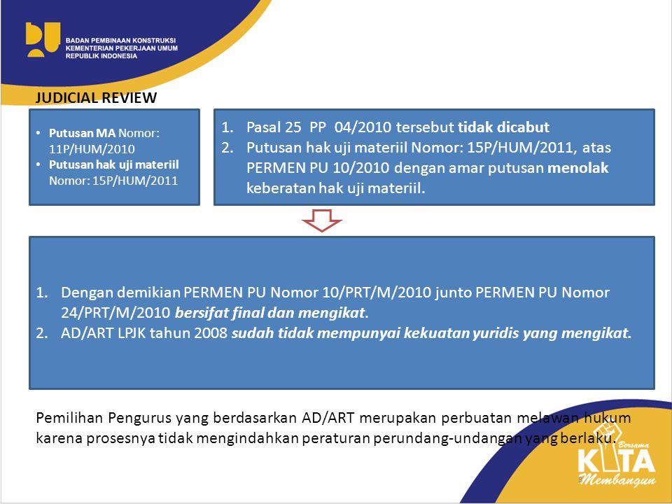 8 1.Pasal 25 PP 04/2010 tersebut tidak dicabut 2.Putusan hak uji materiil Nomor: 15P/HUM/2011, atas PERMEN PU 10/2010 dengan amar putusan menolak kebe