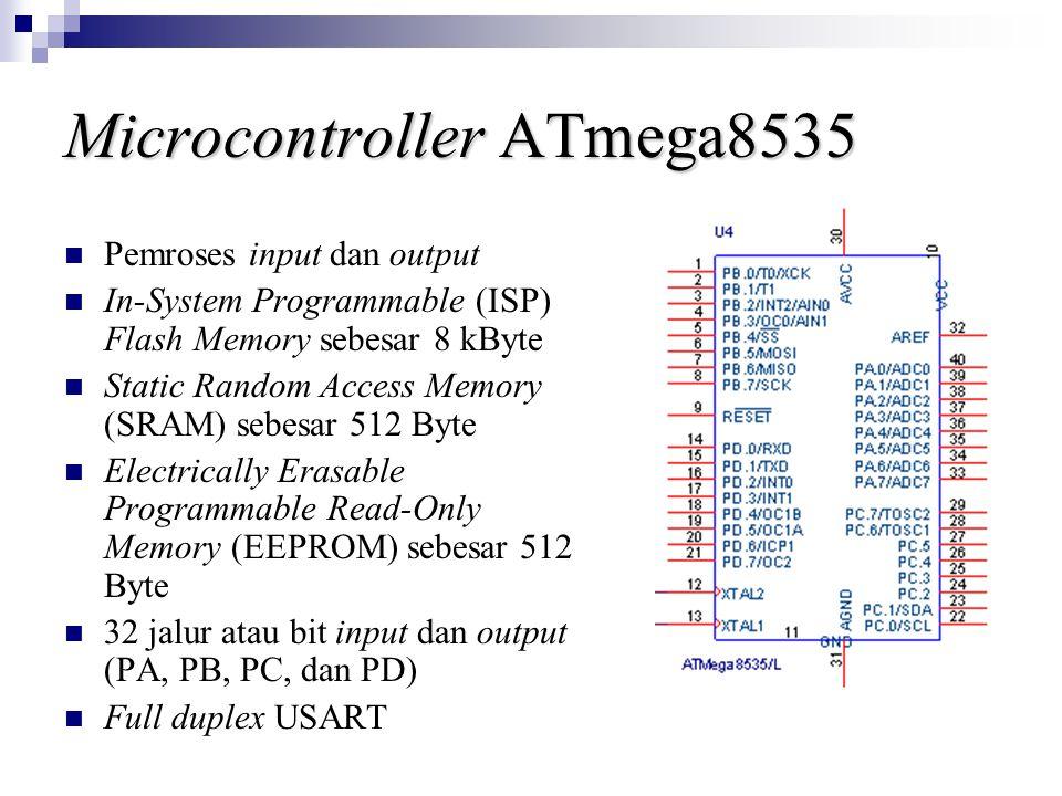 Microcontroller ATmega8535 Pemroses input dan output In-System Programmable (ISP) Flash Memory sebesar 8 kByte Static Random Access Memory (SRAM) sebesar 512 Byte Electrically Erasable Programmable Read-Only Memory (EEPROM) sebesar 512 Byte 32 jalur atau bit input dan output (PA, PB, PC, dan PD) Full duplex USART