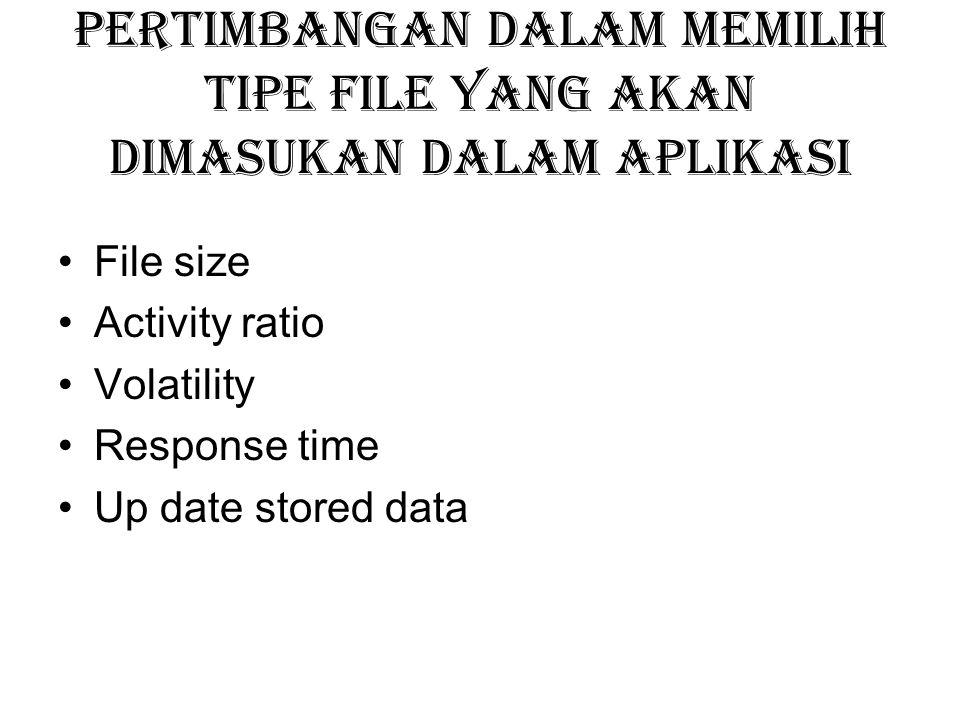 Pertimbangan dalam memilih tipe file yang akan dimasukan dalam aplikasi File size Activity ratio Volatility Response time Up date stored data