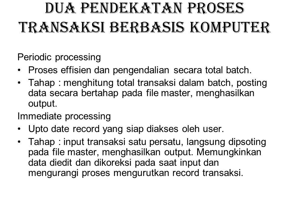 Dua pendekatan proses transaksi berbasis komputer Periodic processing Proses effisien dan pengendalian secara total batch. Tahap : menghitung total tr