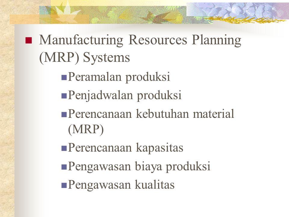 Manufacturing Resources Planning (MRP) Systems Peramalan produksi Penjadwalan produksi Perencanaan kebutuhan material (MRP) Perencanaan kapasitas Peng