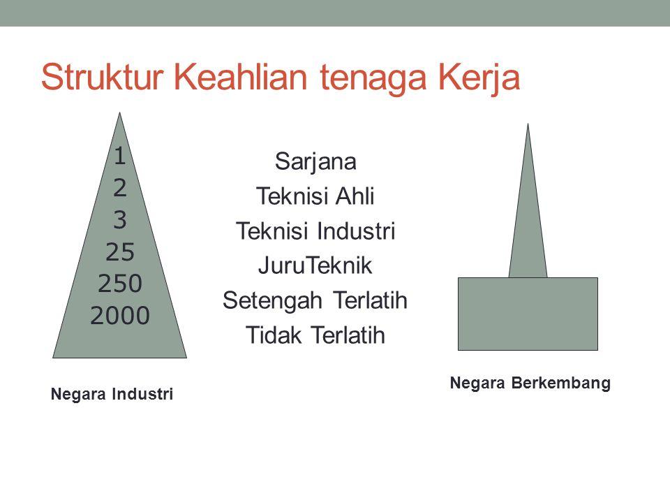 Struktur Keahlian tenaga Kerja Sarjana Teknisi Ahli Teknisi Industri JuruTeknik Setengah Terlatih Tidak Terlatih 1 2 3 25 250 2000 Negara Industri Neg