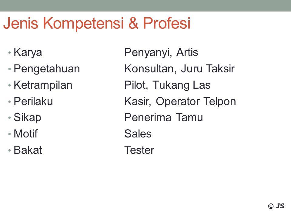 Jenis Kompetensi & Profesi KaryaPenyanyi, Artis PengetahuanKonsultan, Juru Taksir KetrampilanPilot, Tukang Las PerilakuKasir, Operator Telpon SikapPen
